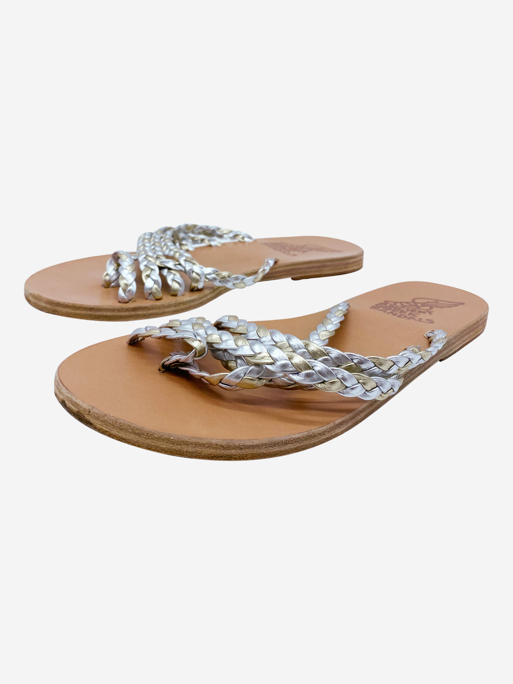 Silver and gold braided leather sandals - size 5