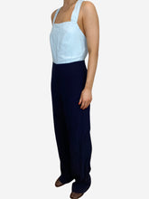 Load image into Gallery viewer, Navy & light blue cross back jumpsuit - size S