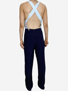 Staud Navy & light blue cross back jumpsuit - size S