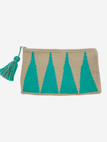 Beige & turquoise zip up woven pouch with tassel