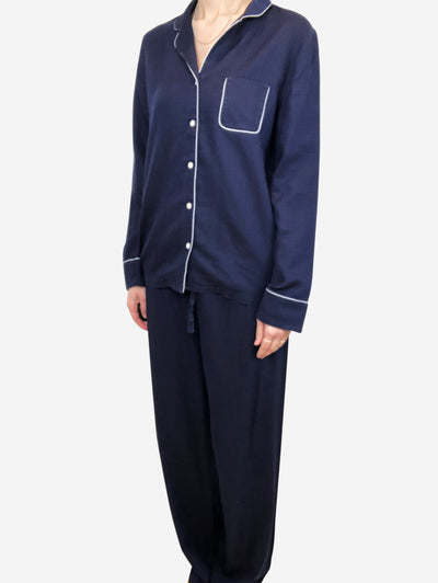 Navy cotton pyjamas - size UK M