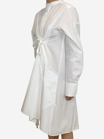 White cotton oversized belted shirt dress - size UK 8