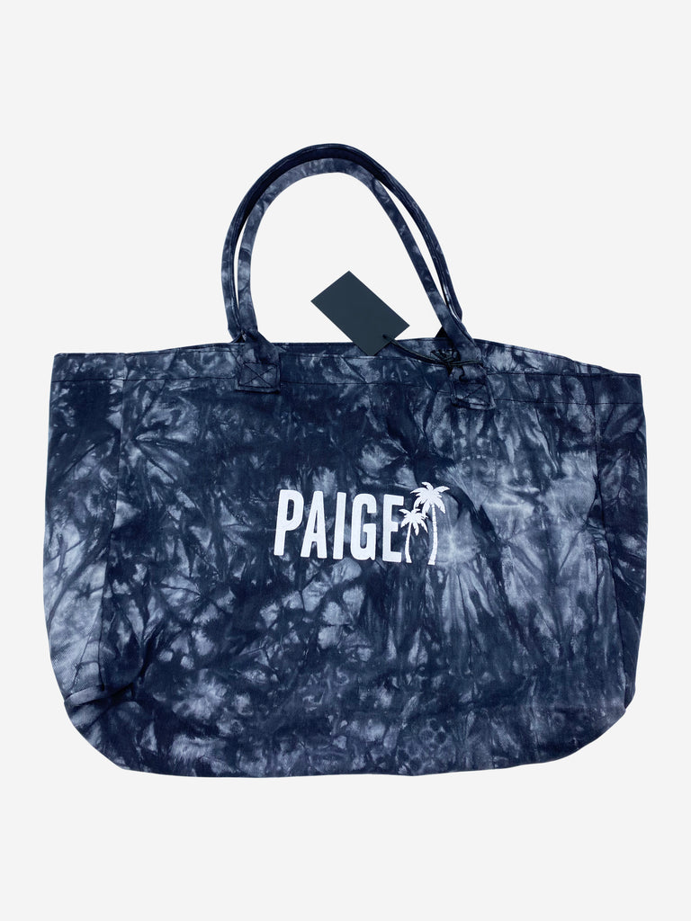 Denim logo tote beach bag