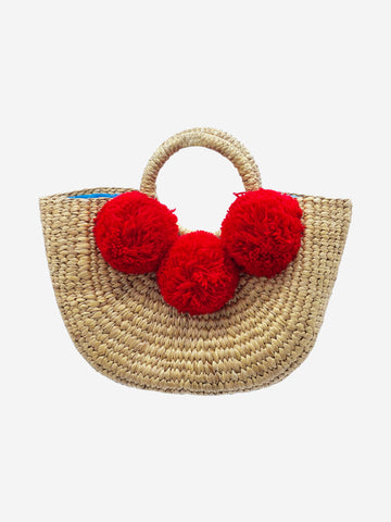 Beige and red top handle bag with pom poms