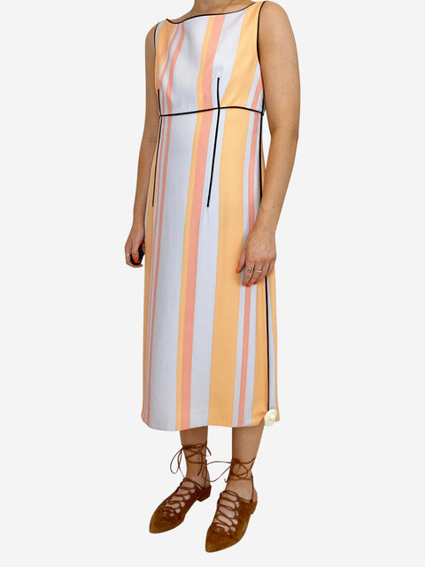 Pale blue and orange striped sleeveless dress - size 10