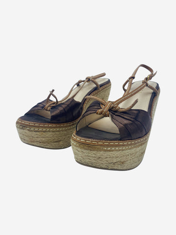 Brown espadrille wedges - size EU 37.5