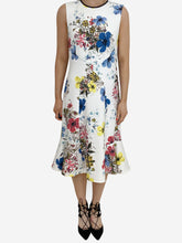 Load image into Gallery viewer, Jana white & multi floral midi dress - size UK 8
