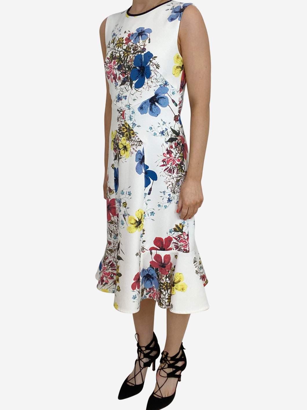 Jana white & multi floral midi dress - size UK 8