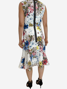 Erdem Jana white & multi floral midi dress - size UK 8