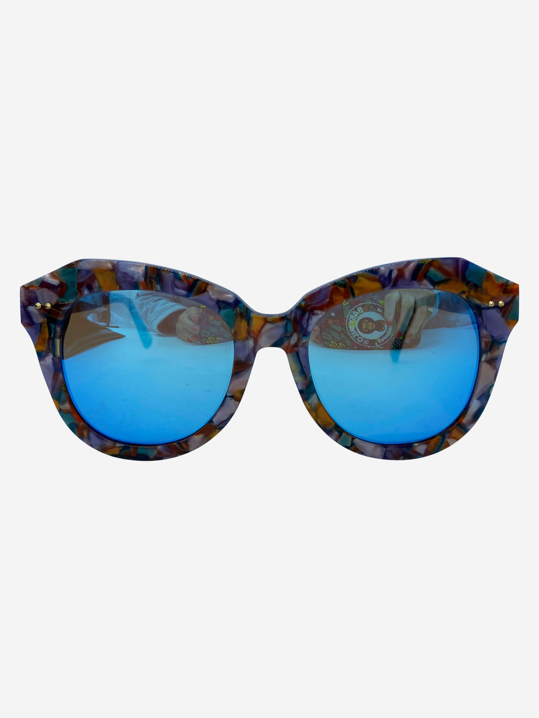 Multicoloured frame sunglasses with blue mirrored lens