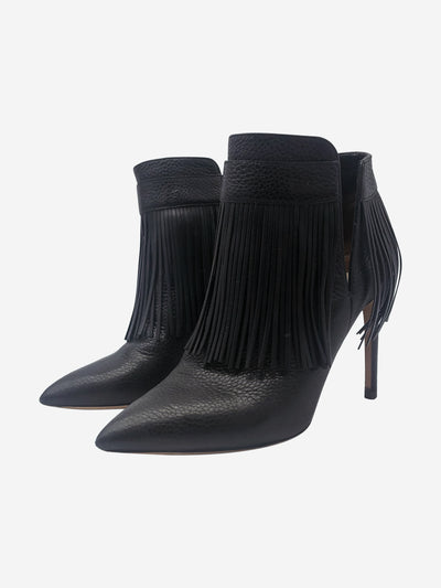 Black Rockee fringed leather ankle boots - size EU 38.5