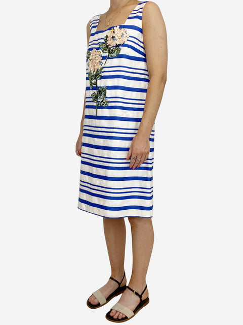 Blue and white striped midi dress with floral applique - size 12
