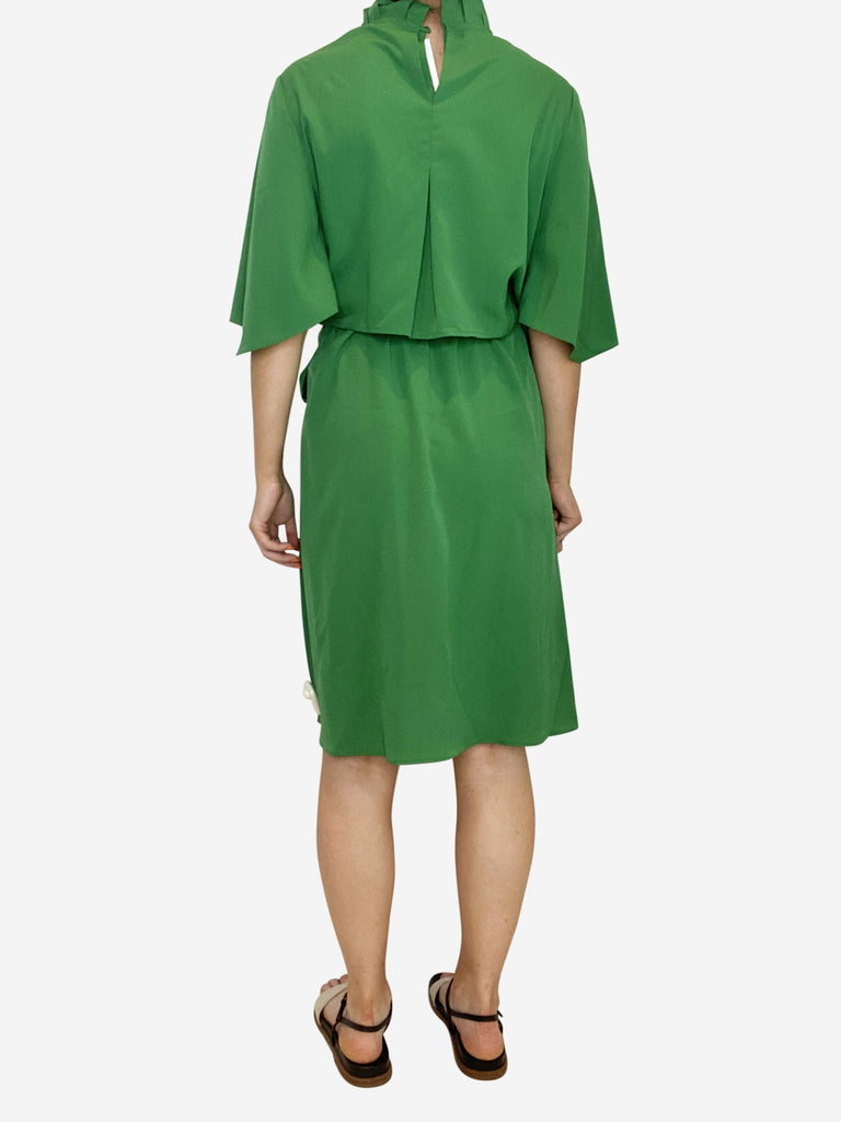Green ruffle neck dress with tie waist and open back - size S