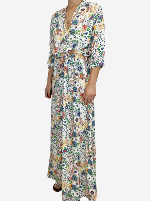 White and multicolour floral print drawstring maxi dress - size 10