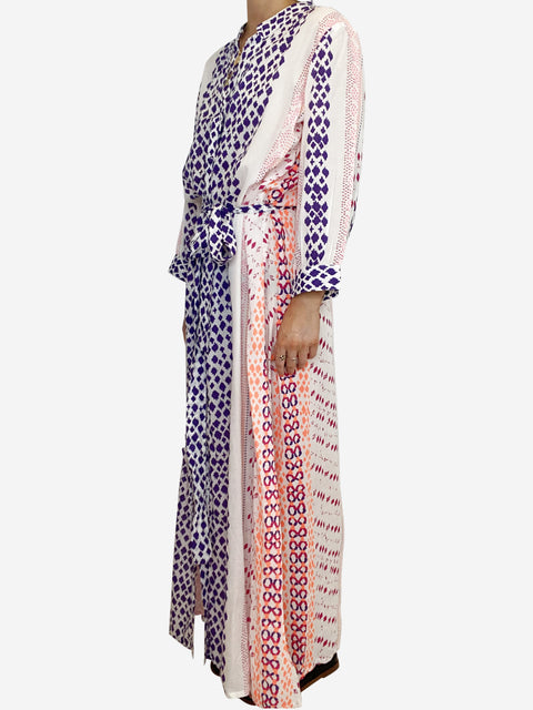 White and purple long sleeve kaftan with belt - size M