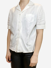 Load image into Gallery viewer, White short sleeve button up shirt- size UK 10