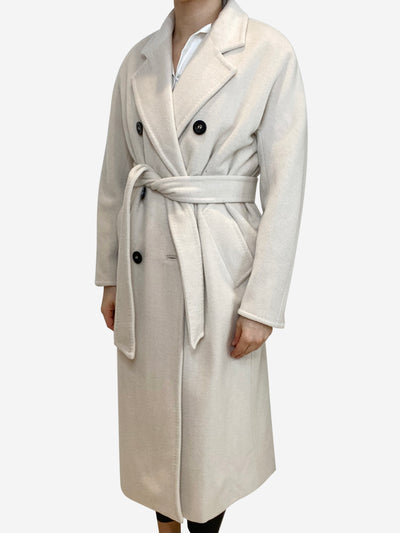 Cream double breasted coat with belt tie - size UK 2