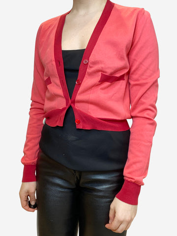 Coral and burgundy cropped cardigan- size S