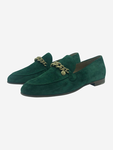 Green suede loafers with gold chain - size EU 37