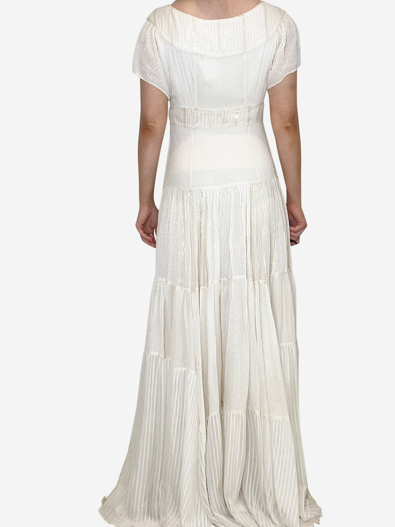 Cream and gold cap sleeve maxi dress - size FR 36