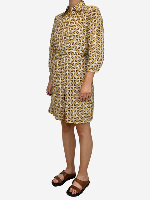 Yellow and brown 3/4 sleeve midi dress with belt - size 8