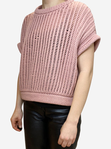 Dusky pink short sleeve knit jumper- size S