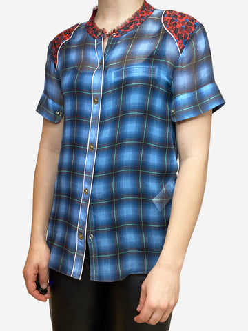 Blue plaid short sleeve western style silk blouse- size S
