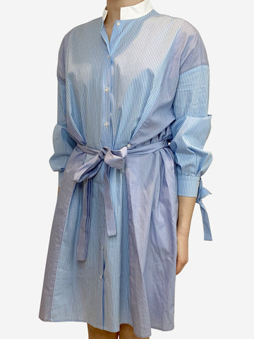 Blue pinstripe shirt dress- size S