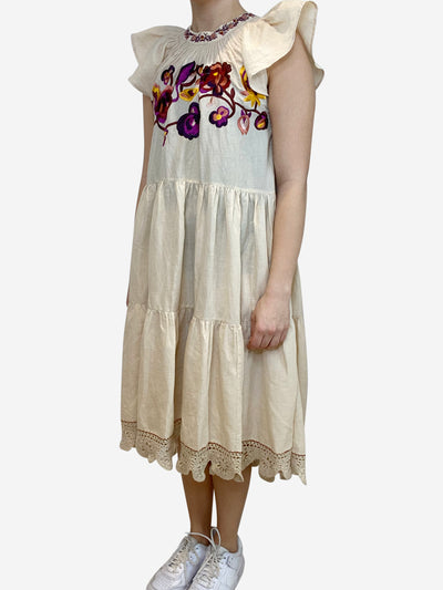 Light beige tiered cap sleeve embroidered dress- size S
