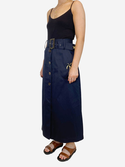 Navy belted denim maxi skirt with palm tree and star applique - size 10