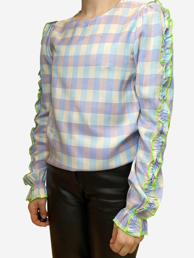 Lilac, blue, and lime check blouse with ruffle accent sleeves- size UK 6