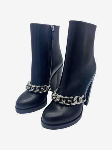 Black heeled chain front boot - size EU 38