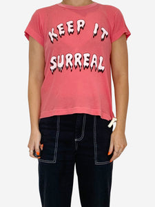 "Pink ""Keep It Surreal"" distressed t-shirt - size XS"