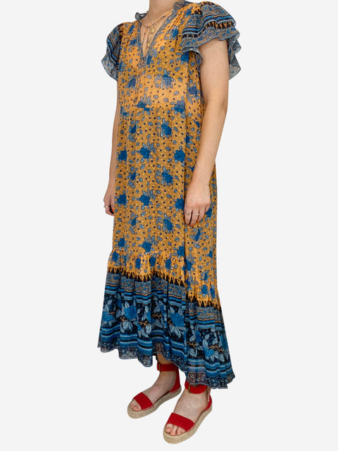 Romilly orange and blue printed ruffle midi dress - size S