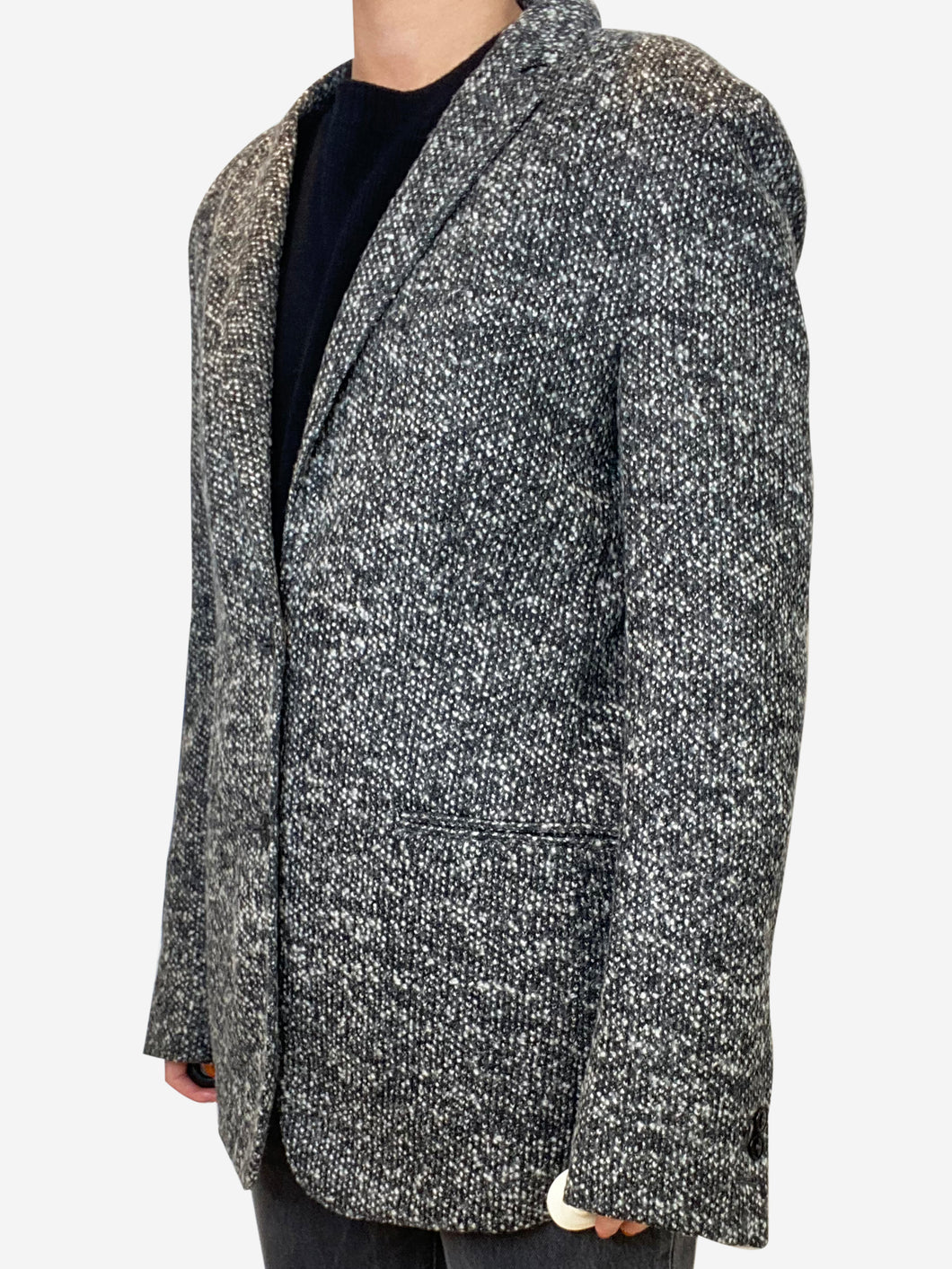 Grey knit blazer - size UK 10
