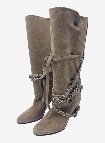 Beige heeled high boots with chain detail - size EU 37