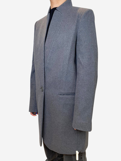 Grey tailored wool cashmere blend coat - size IT 42