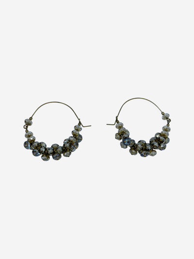 Polly brown & grey hoop earrings
