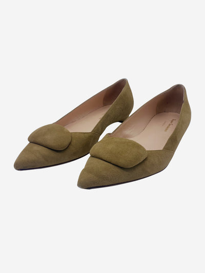 Brown suede pointed toe heeled flats - size EU 40