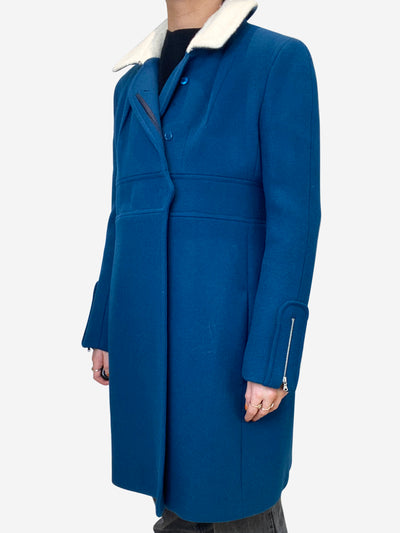 Teal and cream wool coat - size FR 40