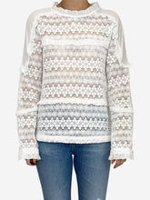 Load image into Gallery viewer, White long sleeved embroidered blouse  - size S