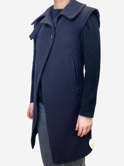 Navy wool sleeveless coat - size FR 38