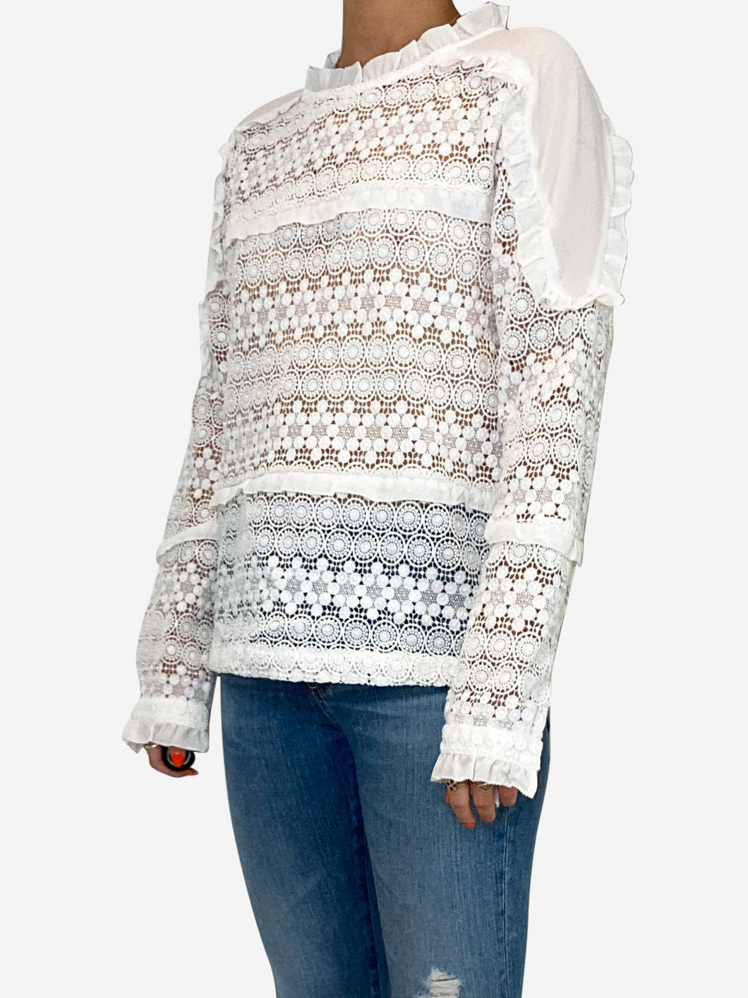 White long sleeved embroidered blouse  - size S