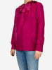 Enisa fuschia long sleeve blouse with ruffle neck detailing - size M