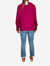 Load image into Gallery viewer, Enisa fuschia long sleeve blouse with ruffle neck detailing - size M