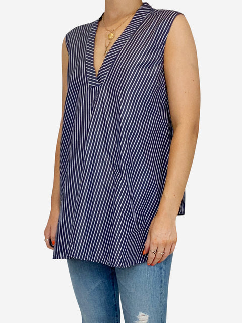 Blue and white striped sleeveless cotton top - size 10