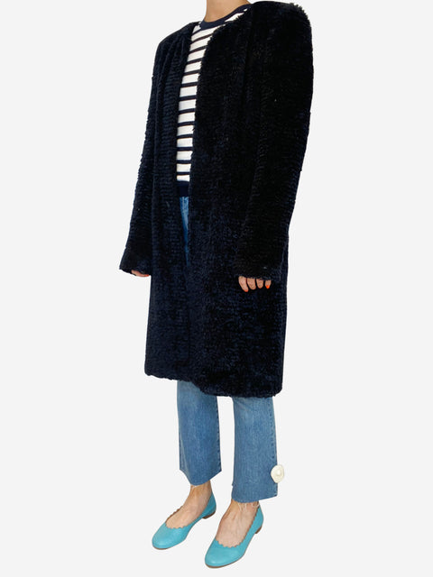 Black long sleeve chenille open coat - size 12