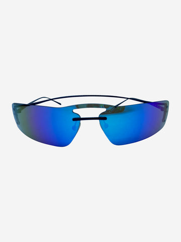 SPR1V black with blue gradient mirrored rectangular sunglasses