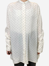 Load image into Gallery viewer, Black and cream polka dot blouse - size FR 38