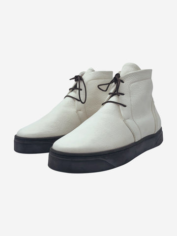 Cream deerskin hi-top shoes - size EU 39